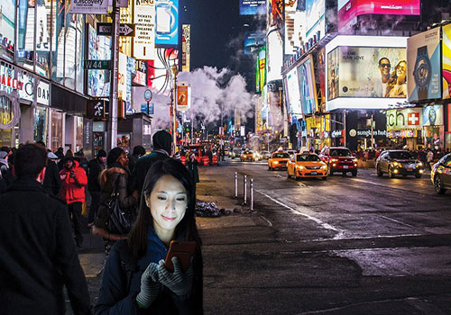 Times Square – Girl looking at her phone